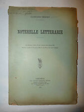 Costumi Critica, G. Imbert: Noterelle Letterarie Monti Arcadia 1909 Catania