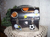 ALL SPORTS METAL LUNCHBOX LETS PLAY SOCCER TENNIS FOOTBALL