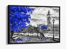 LONDON BIG BEN BLUE AZURE -FLOAT EFFECT CANVAS WALL ART PIC PRINT- GREY