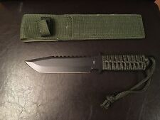 """Tactical Hunting Outdoor Black 6.5"""" Fixed Blade KNIFE w/ Black Nylon Handle"""