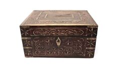 Antique Old Wooden Hand Carved Brass Wired Floral Design Perfume Jewelry Box