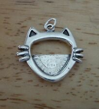 Sterling Silver 20x18mm Cat with Whiskers put your photo in Picture Frame Charm