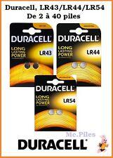 Piles boutons Duracell Alcaline LR43/LR44/LR54, AG10/AG12/AG13