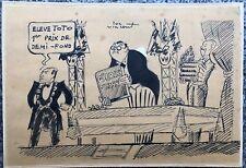 Dessin Original Encre Scène Humoristique LUC VINCENT Caricaturiste c.1950