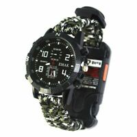 Survival Watch Compass Bracelet Whistle Paracord Fire Flint Starter Usa Outdoor
