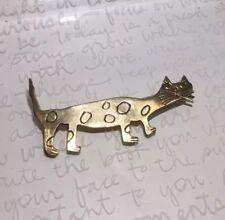 Artisan Signed Handmade Whimsical Folk Art Spotted Bronze Kitty Brooch 7.6g