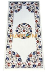 4'x2' Marble Dining Table Top Lapis Carnelian Floral Marquetry Inlay Decors W092