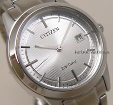 CITIZEN LADY ECO DRIVE SILVER FACE STAINLESS STEEL BAND DATE FE1081-59A cg