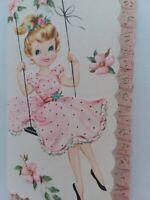 UNUSED Vtg GIRL on Swing PINK DRESS Embossed BIRTHDAY GREETING CARD w Envelope