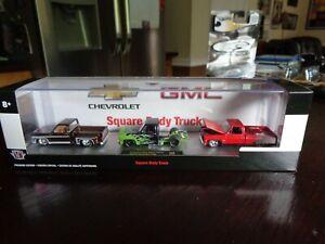 1973 1976 CHEVY GMC SQUARE BODY TRUCK SET WALMART EXCLUSIVE M2 CASTLINE 1/64 NEW