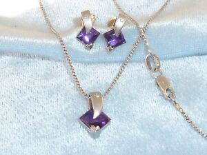 """14K White Gold Pendant/Earring Set, Amethyst & Diamonds, 14.5"""" 14K Chain"""