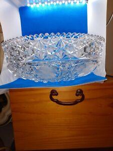 "Vintage American Brilliant Cut Glass 9.75"" Bowl ith Flowers"