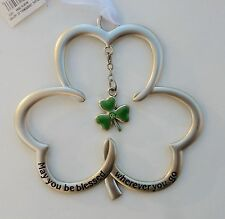 a B May you be blessed wherever you go irish Shamrock Ornament charm blessing