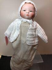 10� Antique German Bisque Head Cloth Body Bye Lo Celluloid Hands Bald Baby #Sc5