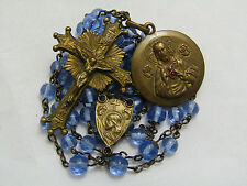"† VERY BEAUTIFUL ANTIQUE BLUE MOLDED GLASS BRASS ROSARY ""SACRED HEART"" MEDAL †"