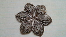10 X Large Flower Filigree Embellishments- Antique Bronze Tone- scrapbooking