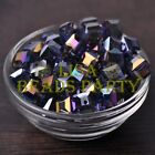 New 10pcs 10mm Cube Square Faceted Crystal Glass Loose Spacer Beads Purple AB