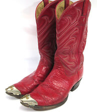 Tony Lama El Rey Red Bullhide Cowboy Western Leather Boots Mens Size 12 C