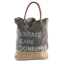 Mona B Create Care Conserve Recycled Canvas & Leather Tote Bag Stenciled 17.5 in