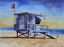 Lifeguard tower Zuma Beach  Impressionism Landscape John Kilduff Watercolor