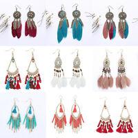 Bohemian Women Vintage Boho Crystal Feather Tassel Drop Dangle Earrings Jewelry