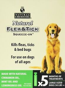 NATURAL CHEMISTRY FLEA & TICK SQUEEZE ON FOR MEDIUM DOGS 25-50 LBS 5 CT