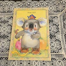 Vintage Greeting Card Birthday Koala Bear Party Balloons