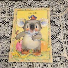Vintage Greeting Card Birthday Koala Bear Party Balloons