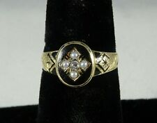 Victorian 15 Carat Gold Pearl & Diamond Enamelled Mourning Ring, Chester 1892