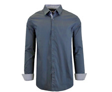 NWT Galaxy Harvic Men Slim Fit Long Sleeve Solid Navy/Pinstripe Dress Shirt 2XL