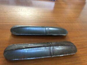 2 Vintage Antique Eye Glasses Cases Storage Metal Pencils Pens Cigar Holder Art