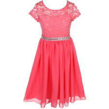 CORAL Flower Girl Dress Birthday Pageant Wedding Party Bridesmaid Formal Gown