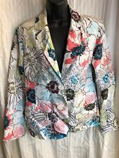Chico's silk jacket size 1 100% silk floral white embroidery blazer