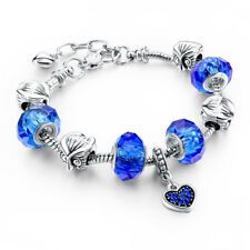 Sterling Silver Plated Blue Heart Charm Bracelet with Charms & Snake Chain