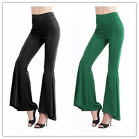 Womens Mid Waist Stretchy Flare Wide Leg Pants Trousers Leggings Palazzo Bottom