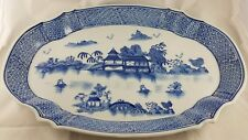 """Blue Willow Pattern Porcelain Ironstone Large 18.5""""x13"""" Oval Shaped Serving Tray"""