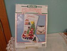 "BUCILLA CHRISTMAS FELT STOCKING KIT A DICKENS CHRISTMAS 18"" EMBROIDERY 1990"