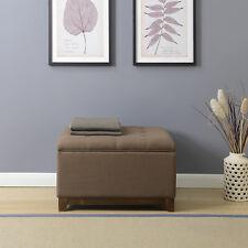 Modern Storage Ottoman Stool Footrest Coffee Tufted Linen Fabric Espresso Brown