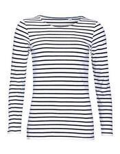Gestreifte Damen-T-Shirts aus Baumwolle in Größe XS