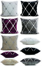Large Crush Velvet Diamante Chesterfield Cushions or  Covers 3 Sizes 5 Colors