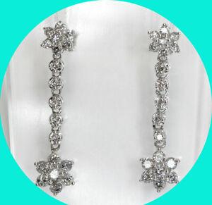 ".90CT diamond flower drop earrings 14K WG 38 round brilliant 1 1/8"" long"