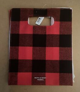 NEW Bath & Body Works Red & Black Buffalo Plaid PVC (Vinyl) Gift Bag
