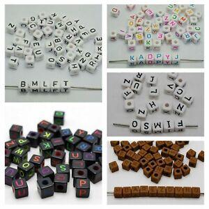 Kids Craft DIY Assorted Alphabet Letter Acrylic Cube Pony Beads 8mm 10mm