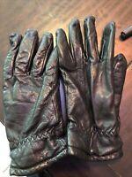 VINTAGE GRANDOE Black Leather  Gloves LINED womens sz S