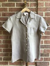 Vintage Brooks Brothers Linen Brown Button Up Shirt Women Size 6