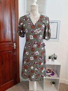 NEXT FLORAL CREPE WRAP DRESS KHAKI GREEN BROWN RRP £22.00 B.N.W.T