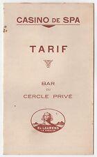 1930s CASINO SPA BAR MENU Cercle Prive ED LAURENS Le Khedive CHAMPAGNE Wine BEER