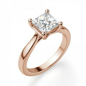 2.00 Ct Moissanite Princess Cut Rose Gold Special Ring 18K Solitaire Girl ring