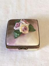 Peint Main Rochard Limoges Pink Rose Trinket Box
