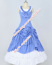 Victorian Gothic Ball Gown Blue White Formal Dress Reenactment Theatre Clothing